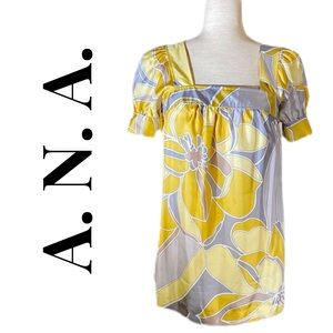ANA SILK BLOUSE LARGE YELLOW FLORALS ON GREY S
